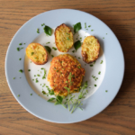 vegetarische Frikadellen mit Ofenkartoffeln